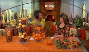 Cathy Hobbs, ASID sharing Affordable Fall Centerpiece ideas on the PIX AM New!