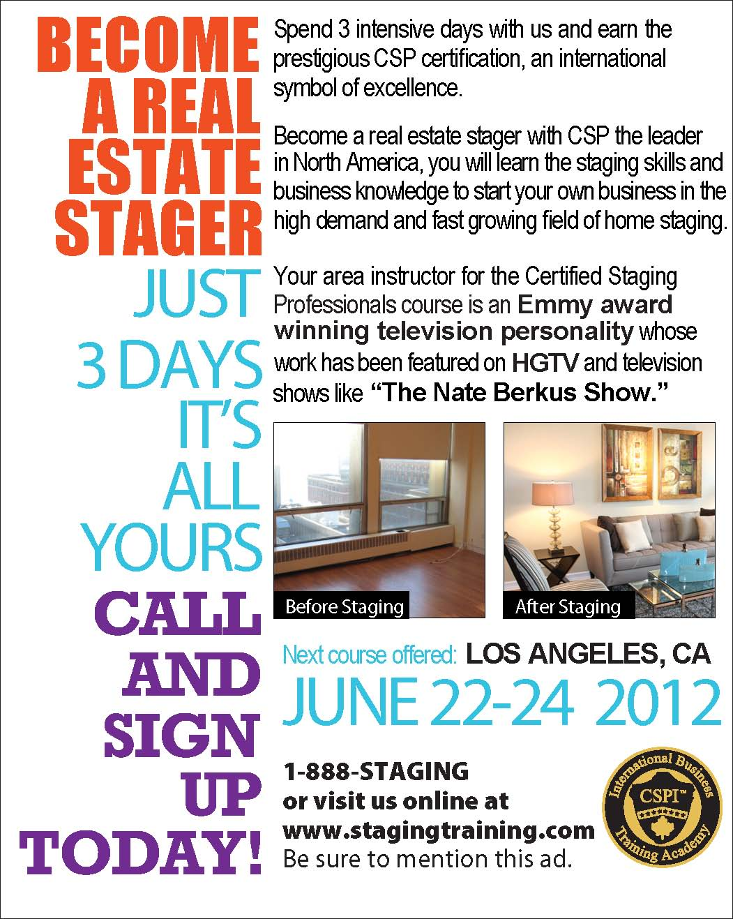 Celebrity Interior Designer Cathy Hobbs Of HGTV Design Star To Teach Home Staging Certification Course In Los Angeles June 22 24th