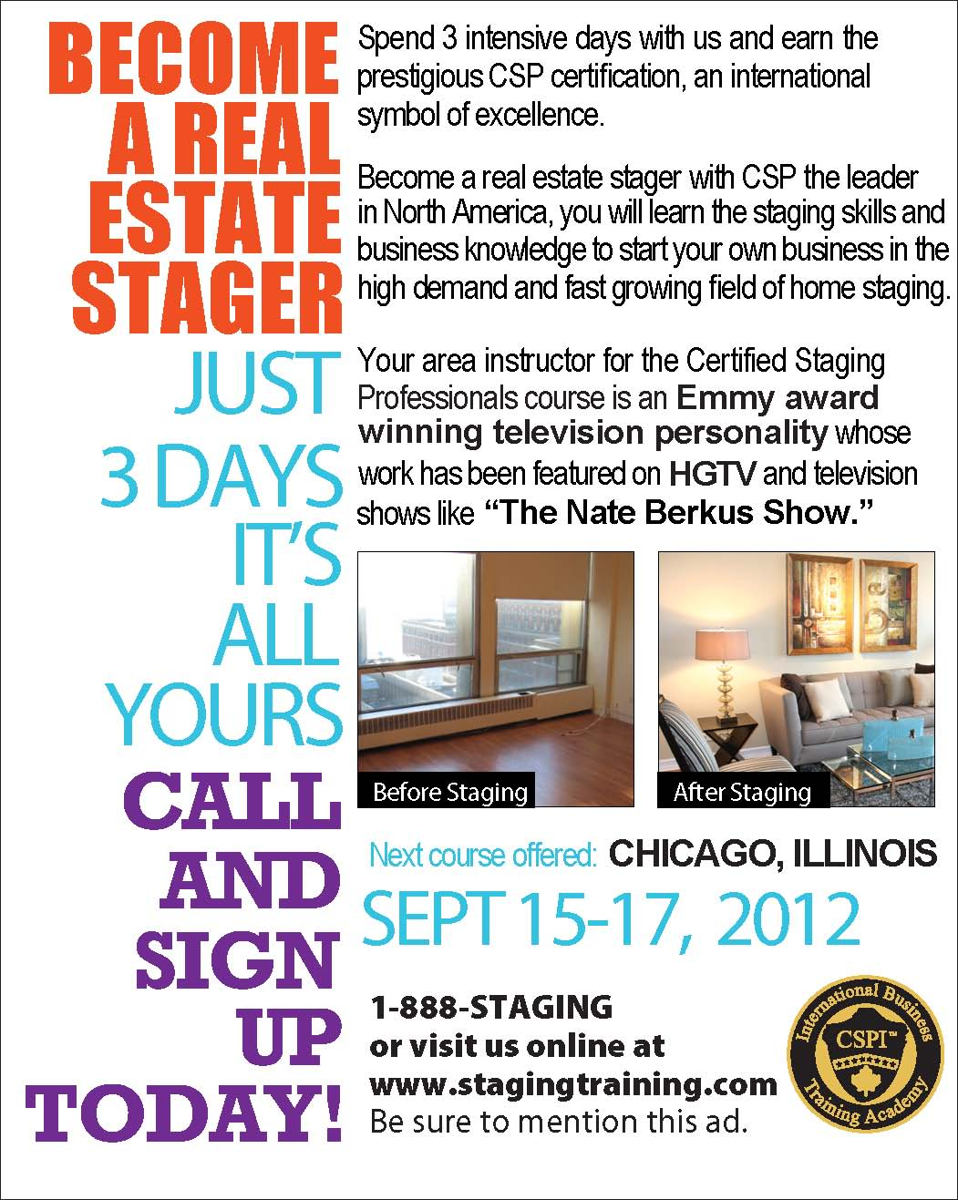 CELEBRITY INTERIOR DESIGNER CATHY HOBBS OF DESIGN RECIPES AND THE CERTIFIED STAGING PROFESSIONALS CSP COURSE FEATURED ON LOCAL TV PROGRAM