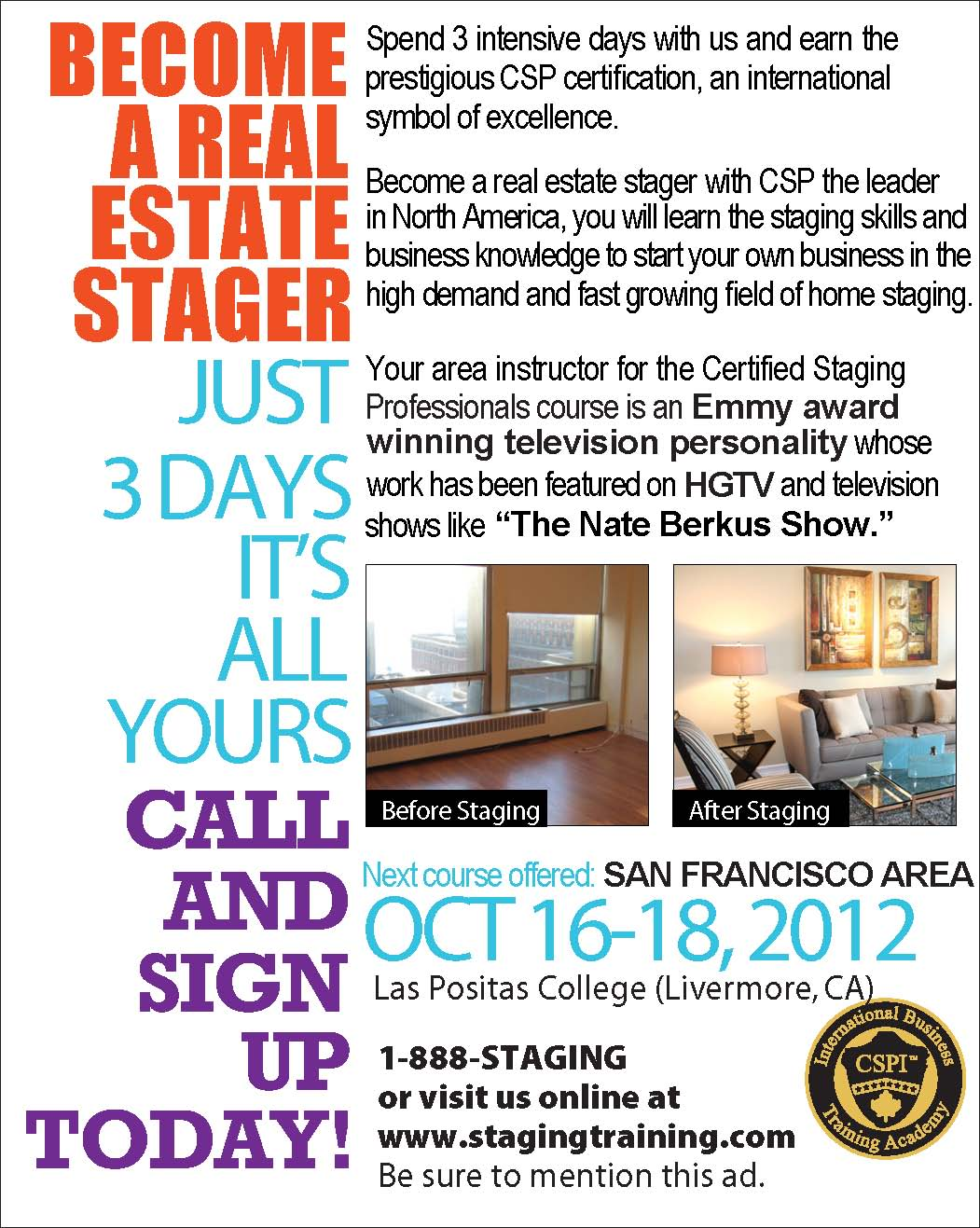 San francisco area home staging course celebrity interior designer cathy hobbs of design for Teach yourself interior design