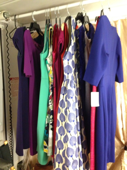 A stylist had these gorgeous dresses waiting in my trailer when I arrived