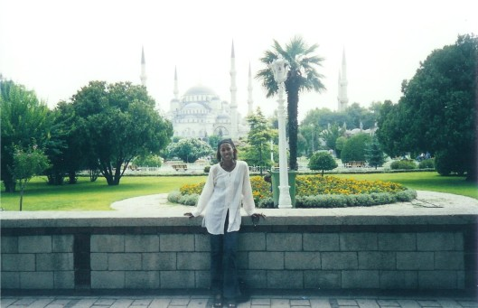 Interior Designer Cathy Hobbs in front of Turkey's Blue Mosque