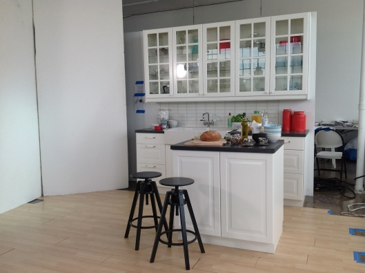 The initial set up, creating a mock IKEA kitchen