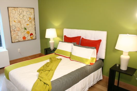 Modern Interior Using Lime Green Color Accent Wall (076-6 Cathy's Limeade) by Mythic Paint