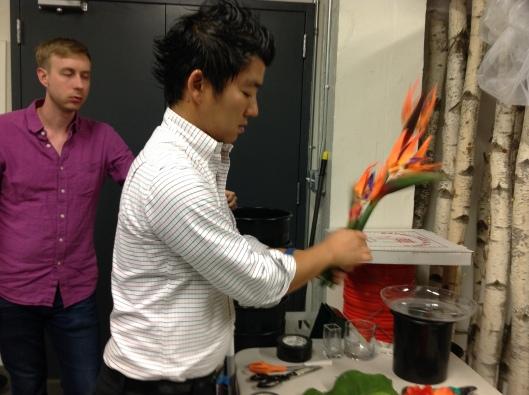 Kenji preparing the artificial Birds of Paradise.. OMG they look sooo real!