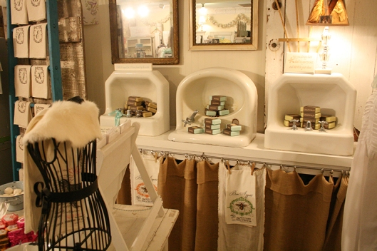 I just LOVED the way a local store displayed their luxury soaps in old sinks! FAB idea!